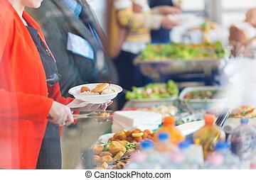 konferencja, złamanie, meeting., bankiet, lunch