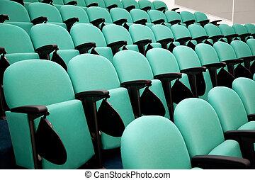 konferencyjna sala, hałasy, fragment, krzesła, opróżniać