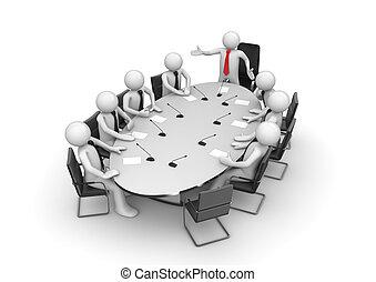 konferens, gemensam, möte rum