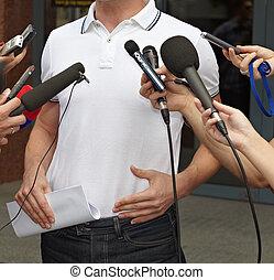 konferens, mikrofoner, journalistik, affärsmöte