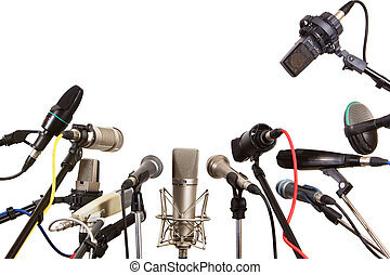 konferens, mikrofoner, möte, pratmakare, förberedd
