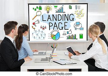 konferenz, beachten, video, businesspeople