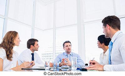 konferenz, geschäftsführung , tisch, ungefähr, sitzen