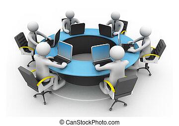 konferenz, geschaeftswelt, arbeitende leute, büro., zusammen, buero, tisch, runder , 3d