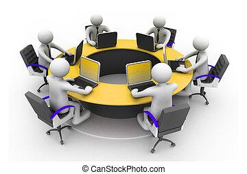 konferenz, geschaeftswelt, arbeitende leute, table;, buero, zusammen, büro., runder , 3d