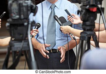 konferenz, geschaeftswelt, journalismus, mikrophone, ...