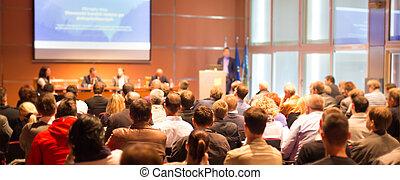 konferenz, hall., publikum