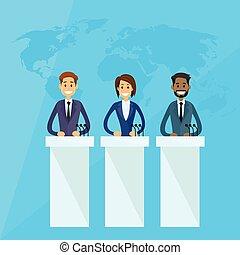 konferenz, leiter, international, drücken, präsident