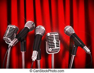 konferenz, mikrophone, knapp, aus, vorbereitet, talker, versammlung, rotes