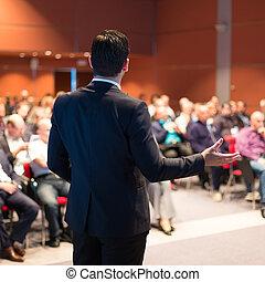 konferenz, presentation., sprecher, geschaeftswelt