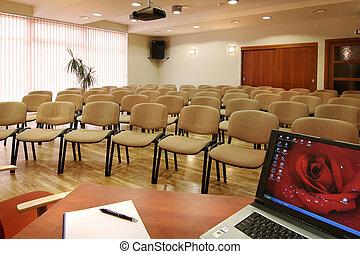 konferenz, stühle, hotel, halle, viele