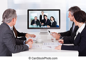 konferenz, video, gruppe, businesspeople