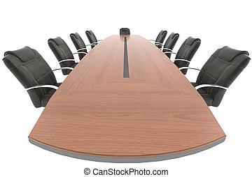 konferenzzimmer, tisch, und, stuhl, von, chef, gesichtspunkt