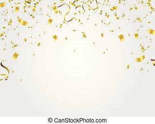 konfetti, arany, celebration.
