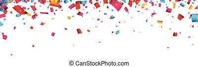 konfetti, banner., firande