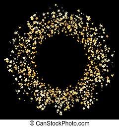 konfetti, csillag, karika, fénylik, arany