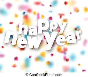 konfetti, dolgozat, boldog, új, cégtábla., év