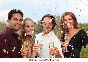 konfetti, fél, pezsgő, ünneplés