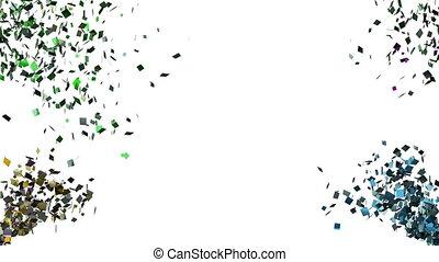 konfetti, fallender , weißer hintergrund