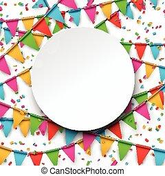 konfetti, hintergrund., feier