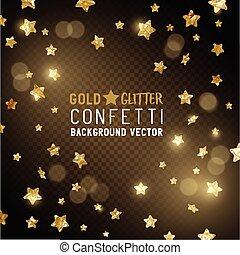 konfetti, stern, gold