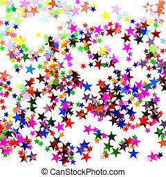 konfetti, stjärna gestaltade