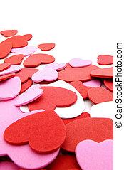 konfetti, valentinkort, gräns, dag