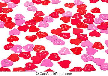 konfetti, vit, valentinkort dag, bakgrund