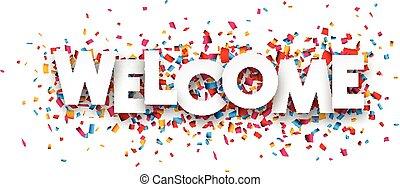 konfetti, zeichen., papier, herzlich willkommen