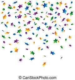 konfety, déšť