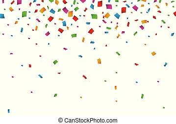 konfety, padající, běloba grafické pozadí, barvitý