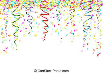 konfety, padající