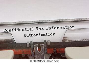 konfidentiell, pålaga, information, bemyndigande, ord, maskinskrivit, på, a, årgång, typewriter.