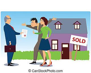 konflikt, aus, real estate, verkauf