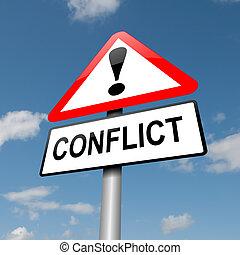 konflikt, concept.