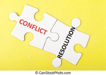 konflikt, och, upplösning, ord