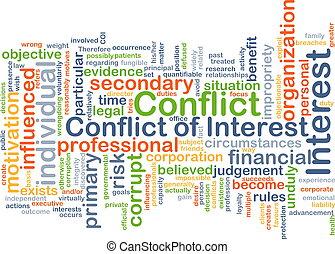 konflikt, od, zainteresowanie, tło, pojęcie