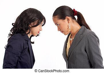 konflikt, von, zwei, sekretäre
