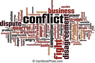 konflikt, wort, wolke