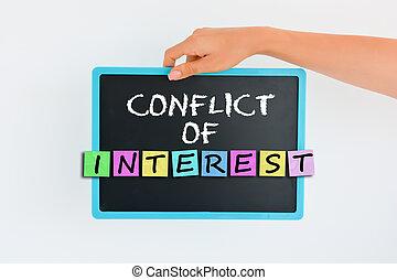 konflikten, i, interesse, begreb, på, lille, sort vægtavle