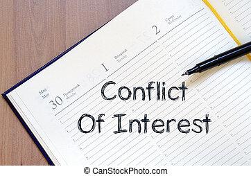konflikten, i, interesse, skriv, på, notesbog