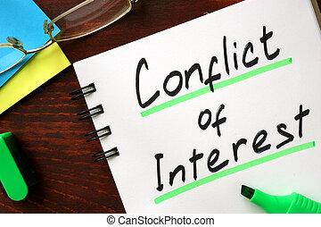 konflikten, i, interesse, tegn