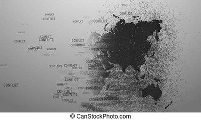 konfliktus, képben látható, a, planet., hadi, konfliktus,...