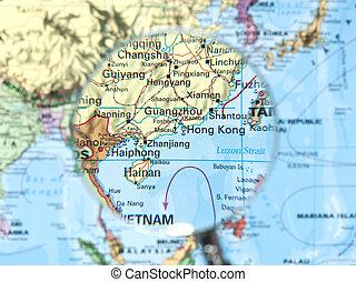 kong, 地図, hong, 陶磁器