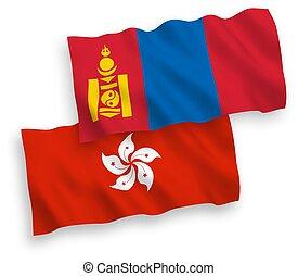 kong, banderas, mongolia, plano de fondo, hong, blanco