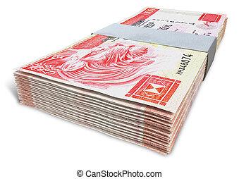 kong, dólar, manojos, hong, notas