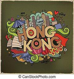 kong, elementos, doodles, mano, plano de fondo, hong, letras