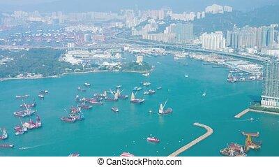 kong, harbor., vidéo, hong, ultrahd, cityscape