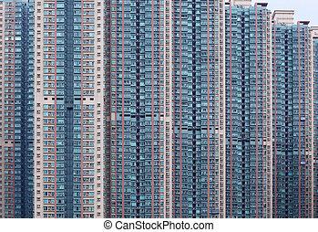 kong, hong, 住宅の, 建物