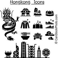 kong, hong, conjunto, icono